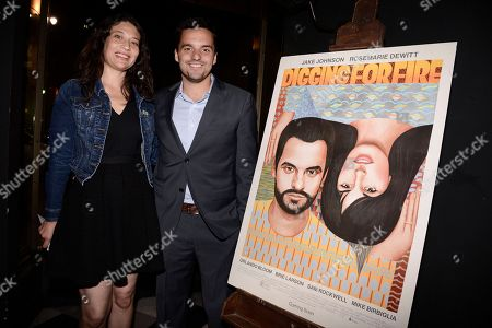 """Actor Jake Johnson, right, and his wife Erin Payne attend the after party for the Los Angeles premiere of the feature film """"Digging For Fire"""" in Los Angeles on"""