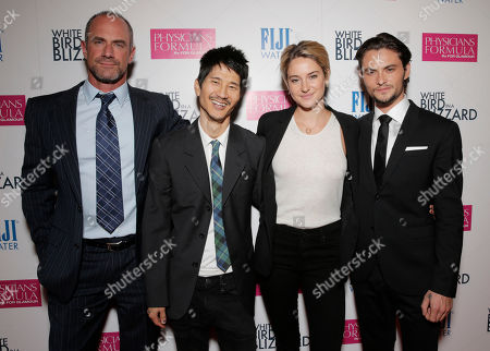 """Christopher Meloni, and from left, Gregg Araki, Shailene Woodley and Shiloh Fernandez arrive at the premiere of """"White Bird in a Blizzard"""" at the ArcLight Hollywood, in Los Angeles"""