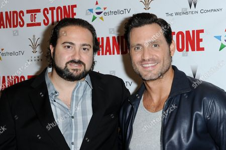 """Jonathan Jakubowicz, left, and Edgar Ramirez attend the LA Special Screening of """"Hands of Stone"""" on Monday, Aug.15, 2016, in Los Angeles"""