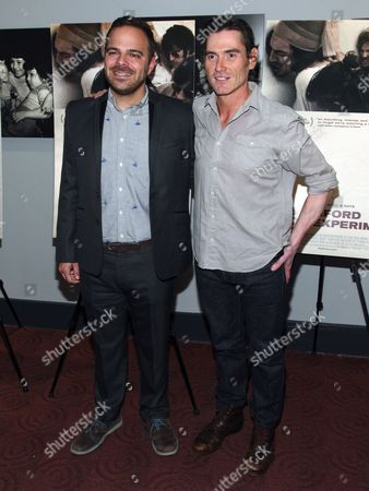 """Kyle Patrick Alvarez, left, and Billy Crudup, right, attend the """"The Stanford Prison Experiment"""" premiere at the Bow Tie Chelsea Cinemas, in New York"""