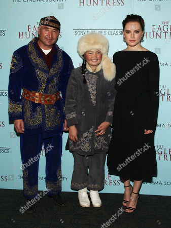 "Nurgaiv Rys, from left, Aisholpan and Daisy Ridley attend a special screening of ""The Eagle Huntress"" at the Landmark Sunshine Cinema, in New York"
