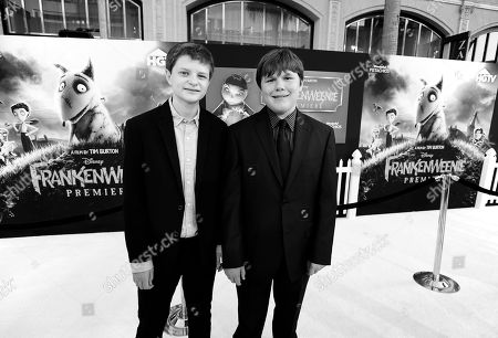 DISNEY: Actors Charlie Tahan, left, and Robert Capron arrive at the premiere of Disney's stop-motion animated full length black and white film 'Frankenweenie' directed by Tim Burton, in Los Angeles