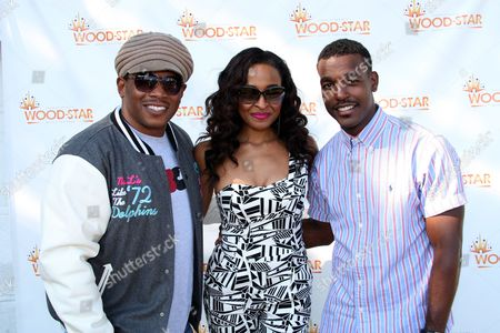 """L-R) Hosts Sway Calloway, Janell Snowden and recording artist Luke James backstage at Shannon Brown's Wood-Star Music Festival """"Soul in the City"""" on Saturday August, 19, 2012, at Union Park in Chicago, Illinois"""