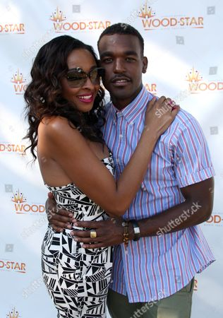 """VH1 personality and host Janell Snowden and recording artist Luke James backstage at Shannon Brown's Wood-Star Music Festival """"Soul in the City"""" on Saturday August, 19, 2012, at Union Park in Chicago, Illinois"""