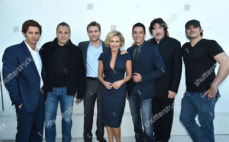 Tanc Sade, John Fogelman, co-founder, El Rey Network, Neil Hopkins, Nicky Whelan, Gabriel Luna, Alfred Molina, and Robert Rodriguez attend the El Rey Network cocktail party at the 2014 Summer TCA, in Beverly Hills, Calif