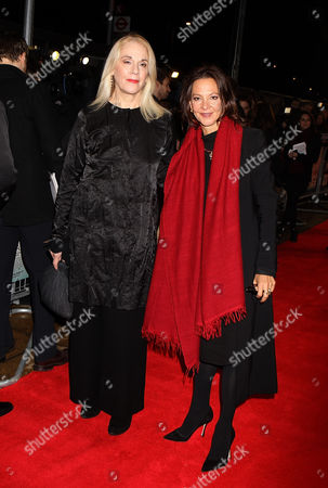 Stock Photo of English Producers Carolyn Marks Blackwood and Gabriella Tana attending the UK Premiere of The Invisible Woman at the Odeon Kensington in London