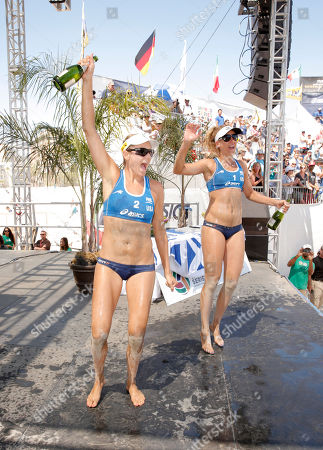 Team USA's Jennifer Kessy and April Ross win the World Series of Beach Volleyball Finals at Celebrity Cruises' Taste of Modern Luxury Culinary & Spa Tour on in Long Beach, Calif