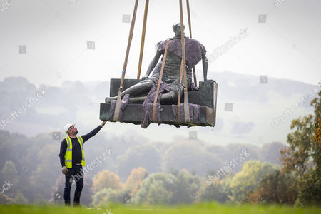 Editorial image of Henry Moore's 'Old Flo' removed from Yorkshire Sculpture Park, UK - 26 Sep 2017