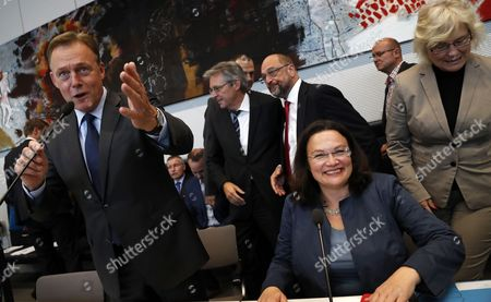 Thomas Oppermann, Andrea Nahles and Martin Schulz