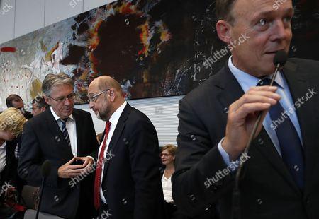 Thomas Oppermann, Martin Schulz and Joachim Post