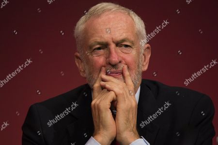 Leader of the Labour Party Jeremy Corbyn listens to Canadian author, social activist, and filmmaker Naomi Klein as she speaks on the third day of the 2017 Labour Party Conference in Brighton.