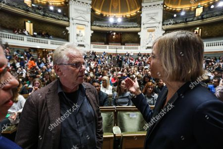 European MP Daniel Cohn-Bendit (L) and President of the French parliamentary commission on Foreign Affairs, Marielle de Sarnez discuss prior to attending the French President's speech on the European Union at the amphitheater of the Sorbonne University in Paris, France, 26 September 2017. French President Emmanuel Macron will set out his vision for a rebooted European Union.