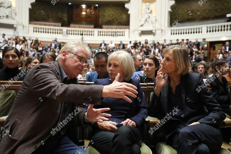 (Fronm L) European MP Daniel Cohn-Bendit, former French Justice Minister, Elisabeth Guigou and President of the French parliamentary commission on Foreign Affairs, Marielle de Sarnez discuss prior to the start of the French President's speech on the European Union at the amphitheater of the Sorbonne University in Paris, France, 26 September 2017. French President Emmanuel Macron will set out his vision for a rebooted European Union.