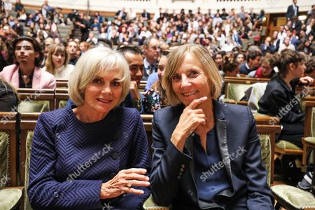 Former French Justice Minister, Elisabeth Guigou (L) and President of the French parliamentary commission on Foreign Affairs, Marielle de Sarnez are pictured prior to the start of the French President's speech on the European Union at the amphitheater of the Sorbonne University in Paris, France, 26 September 2017. French President Emmanuel Macron will set out his vision for a rebooted European Union.