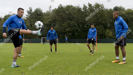 (L-R) Basel's Marek Suchy, Omar Gaber, Mohamed Elyounoussi and Manuel Akanji, attend a training session in Basel, Switzerland, 26 September 2017. FC Basel 1893 will face SL Benfica in the UEFA Champions League Group A soccer match on 27 September 2017.