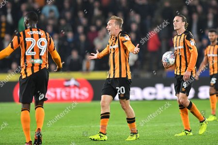 Stock Image of Hull City defender Brian Lenihan (30) reacts to referee decision during the EFL Sky Bet Championship match between Hull City and Preston North End at the KCOM Stadium, Kingston upon Hull