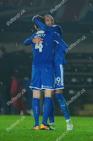 Elliott Hewitt of Notts County and Nicky Hunt of Notts County celebrates after winning during the Sky Bet League 2 Match between Exeter City and Notts County at St James Park, Exeter, Devon on September 26.