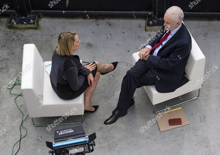 Labour party leader Jeremy Corbyn seen during a television interview with Laura Kuenssberg of the BBC at day 3 of the 2017 the Labour Party Conference, held at The Brighton Centre in East Sussex.
