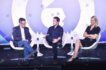 Stock Picture of Andrew Wallenstein (Co-Editor-in-Chief, Variety.com), Nick Bell (VP, Content, Snap Inc) and Elisabeth Murdoch (Founder & Chair, Vertical Networks)