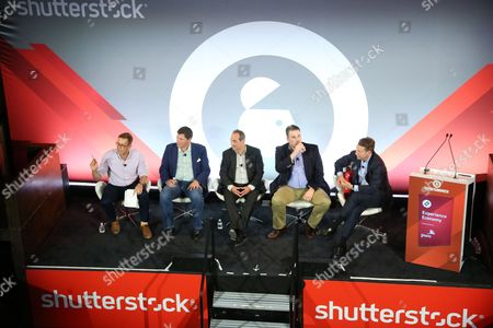 Stock Image of Nicholas Carlson (Editor in Chief, INSIDER), Jeff Gregor (CMO and Chief Catalyst Officer, TNT and tbs, Turner Broadcasting), Gavin Blawie (Head of Digital, MKTG) and Christopher Vollmer (Global Entertainment and Media Advisory Leader, PwC) and Christopher Vollmer (Global Entertainment and Media Advisory Leader, PwC)