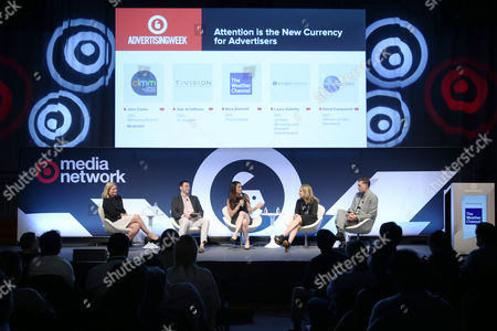 Jane Clarke (CEO and Managing Director, CIMM), Dan Schiffman (CRO and Co-Founder, TVision Insights), Nora Zimmett (SVP, Programming, The Weather Channel), Laura Galietta (SVP Ad Sales Marketing and Branded Entertainment, Scripps Networks), David Campanelli (EVP, Director of Video Investment, Horizon Media)
