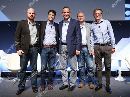 Stock Photo of Allen Klosowski (VP, Advanced Solutions Group, SpotX), Damian Garbaccio (EVP, Nielsen Marketing Cloud), Charlie Chappell (Sr. Director, Global Integrated Media, The Hershey Company), Tore Tellefsen (VP, TV Solutions, DataXu), Gary Milner (Director, Global Digital Marketing, Lenovo)