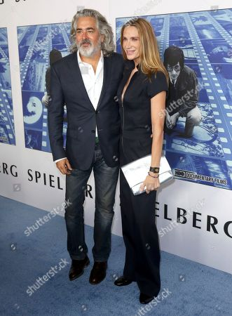 """Mitch Glazer, Kelly Lynch. Mitch Glazer, left, and Kelly Lynch arrive at the Los Angeles premiere of """"Spielberg"""" at Paramount Studios on"""