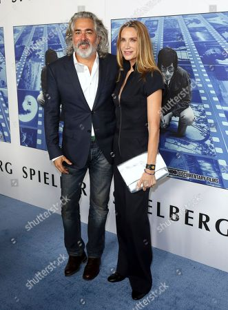"""Stock Photo of Mitch Glazer, Kelly Lynch. Mitch Glazer, left, and Kelly Lynch arrive at the Los Angeles premiere of """"Spielberg"""" at Paramount Studios on"""