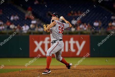 Stock Picture of Washington Nationals' Joe Blanton in action during a baseball game against the Philadelphia Phillies, in Philadelphia