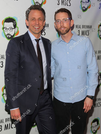 "Seth Meyers, left, and Neal Brennan, right, attend the Broadway opening night party of ""Neal Brennan 3 MICS"" at The Lynn Redgrave Theater, in New York"