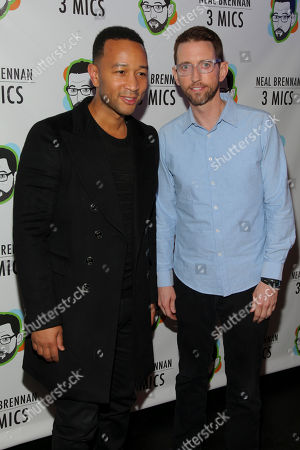 "John Legend, left, and Neal Brennan, right, attend the Broadway opening night party of ""Neal Brennan 3 MICS"" at The Lynn Redgrave Theater, in New York"