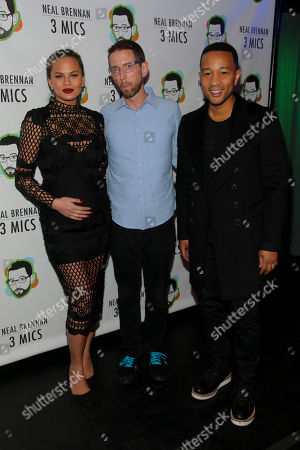 "Chrissy Teigen, from left, Neal Brennan and John Legend attend the Broadway opening night party of ""Neal Brennan 3 MICS"" at The Lynn Redgrave Theater, in New York"
