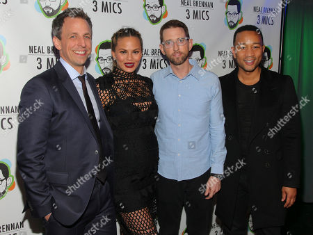 "Seth Meyers, from left, Chrissy Teigen, Neal Brennan and John Legend attend the Broadway opening night party of ""Neal Brennan 3 MICS"" at The Lynn Redgrave Theater, in New York"