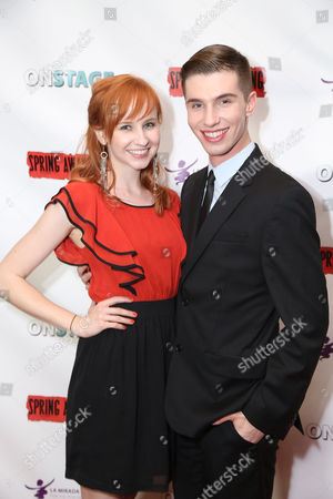 """From left, actress Mary Kate Wiles and cast member Christopher Higgins pose during the party for the opening night performance of """"Spring Awakening"""" at the La Mirada Theatre for the Performing Arts on in La Mirada, Calif"""