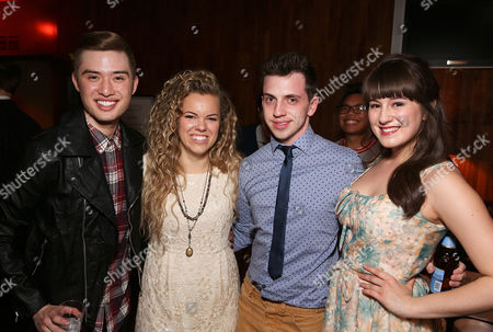 "From left, Chester Lockhart, cast member Alyssa M. Simmons, Daniel Switzer and cast member Micaela Martinez pose during the party for the opening night performance of ""Spring Awakening"" at the La Mirada Theatre for the Performing Arts on in La Mirada, Calif"