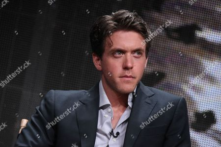 """Ashley Zukerman speaks onstage during the """"Manhattan"""" panel at the Viacom Networks 2015 Summer TCA Tour held at the Beverly Hilton Hotel on in Beverly Hills, Calif"""