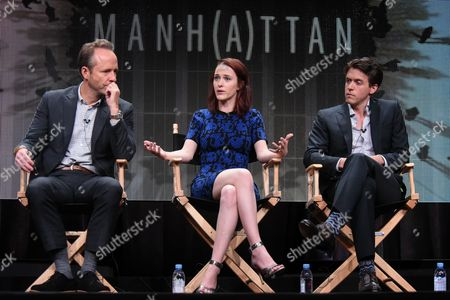 John Benjamin Hickey, from left, Rachel Brosnahan, and Ashley Zukerman speak onstage during the 'Manhattan' panel at the Viacom Networks 2015 Summer TCA Tour held at the Beverly Hilton Hotel on in Beverly Hills, Calif