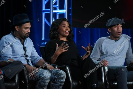 "Actors Mike Epps, from left, Nia Long and James Lesure participate in the ""Uncle Buck"" panel at the ABC 2016 Winter TCA, in Pasadena, Calif"