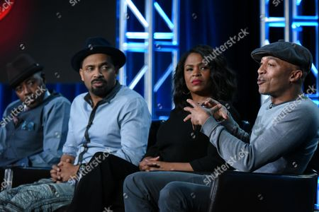 """Stock Image of Actors Will Packer, from left, Mike Epps, Nia Long and James Lesure participate in the """"Uncle Buck"""" panel at the ABC 2016 Winter TCA, in Pasadena, Calif"""
