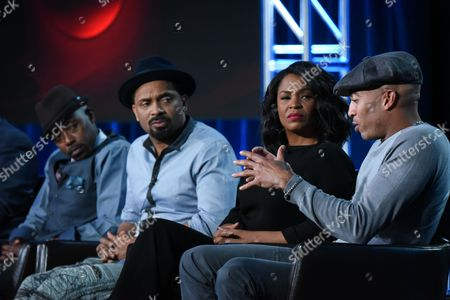 """Actors Will Packer, from left, Mike Epps, Nia Long and James Lesure participate in the """"Uncle Buck"""" panel at the ABC 2016 Winter TCA, in Pasadena, Calif"""