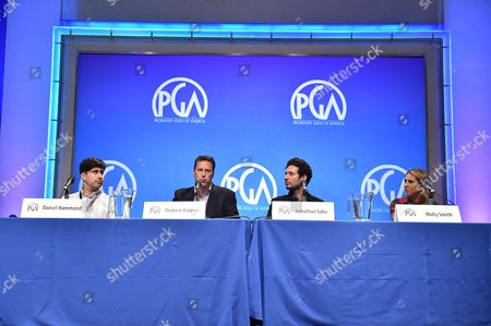 From left, Daniel Hammond, Andrew Karpen, Jonathan Saba and Molly Smith speak at the 8th Annual Produced By Conference presented by Producers Guild of America at Sony Pictures Studios on in Culver City, Calif