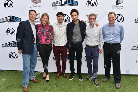 From left, Andrew Karpen, Molly Smith, Daniel Hammond, Jonathan Saba, Ted Mundorff and Gary Luchessi attend the 8th Annual Produced By Conference presented by Producers Guild of America at Sony Pictures Studios on in Culver City, Calif