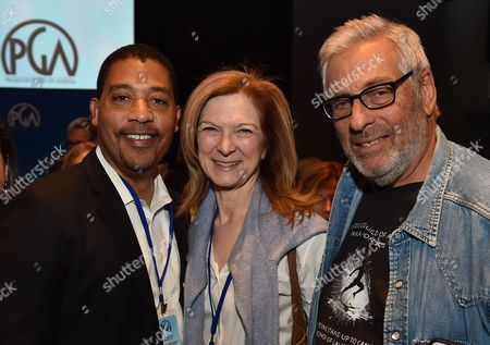From left, David White, Dawn Hudson and Hawk Koch attend the 8th Annual Produced By Conference presented by Producers Guild of America at Sony Pictures Studios on in Culver City, Calif