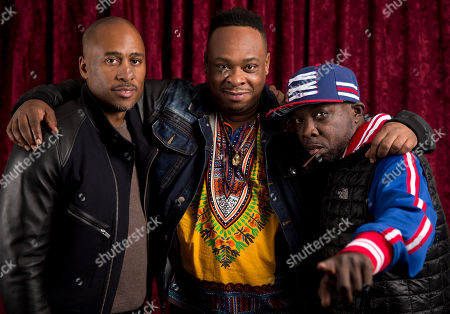 """DJ/Producer Ali Shaheed Muhammad, rapper Jarobi White, and Phife Dawg (Malik Isaac Taylor) of the hip-hop group A Tribe Called Quest pose for a photo at SiriusXM studios in New York. A Tribe Called Quest celebrated the 25th anniversary of its debut album, """"People's Instinctive Travels and the Paths of Rhythm,"""" in November by re-releasing the album with remixes helmed by Pharrell, CeeLo Green and J. Cole. The group said more re-releases will be issues for its other albums"""