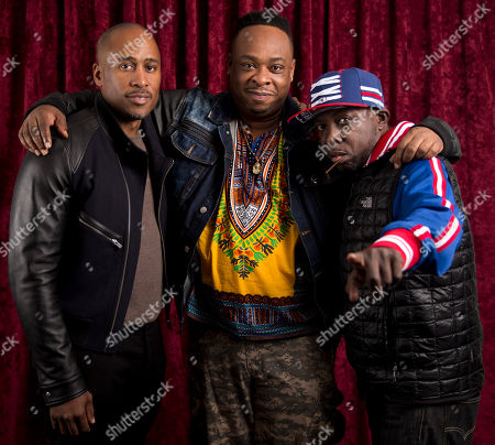 Ali Shaheed Muhammad, from left, Jarobi White, and Malik Isaac Taylor aka Phife Dawg of A Tribe Called Quest pose for a portrait at Sirius XM studios, in New York