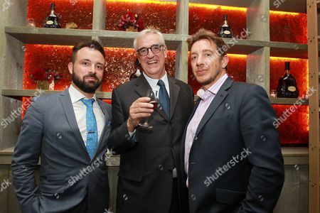 Hennessy Head of Mixology and Brand Education, Jordan Bushell left, Global Brand Ambassador and 8th generation family member, Maurice Hennessy and SVP Hennessy U.S., Giles Woodyer celebrate luxury originals at Hennessy X.O dinner on at The Baccarat Hotel in New York City. The private dinner featured casual conversation that shed light on pioneering brands' Hennessy Cognac and Rolls-Royce and how they've helped shape the trajectory of luxury goods