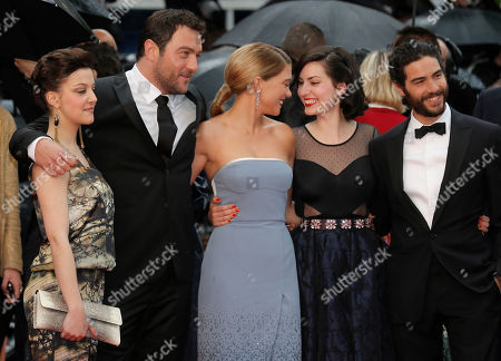 From left, cast members Camille Lellouche, Denis Menochet, Lea Seydoux, director Rebecca Zlotowski and Tahar Rahim arrive for the screening of the film Jimmy P. Psychotherapy of a Plains Indian at the 66th international film festival, in Cannes, southern France