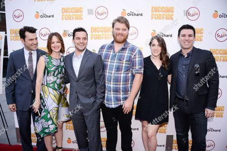 """From left to right, actor Ron Livingston, actress Rosemarie DeWitt, actor Jake Johnson, actor Steve Berg, producer Alicia Van Couvering, and Paul Davidson of The Orchard attend the Los Angeles premiere of the feature film """"Digging For Fire"""" in Los Angeles on"""