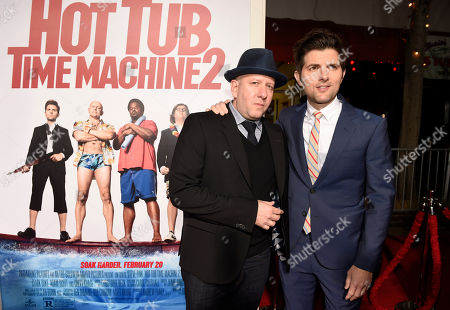 "Stock Image of Steve Pink, left, director of ""Hot Tub Time Machine 2,"" poses with cast member Adam Scott at the premiere of the film at the Regency Village Theater, in Los Angeles"