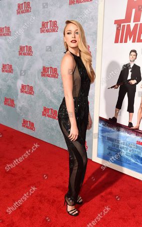 """Mariana Paola Vicente, a cast member in """"Hot Tub Time Machine 2,"""" poses at the premiere of the film at the Regency Village Theater, in Los Angeles"""